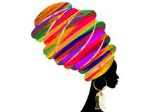 Porträt-schöne Afrikanerin im traditionellen Turban, Kente-Kopfverpackung afrikanisch, traditionelles dashiki Drucken, Vektor der lizenzfreie abbildung