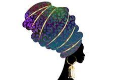 Porträt-schöne Afrikanerin im traditionellen Turban, Kente-Kopfverpackung afrikanisch, traditionelles dashiki Drucken, Vektor der vektor abbildung