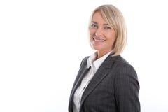 Porträt: Schöne Mitte gealterte lokalisierte Geschäftsfrau Stockfoto