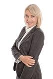 Porträt: Schöne Mitte gealterte lokalisierte Geschäftsfrau Stockfotos