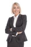Porträt: Schöne Mitte gealterte lokalisierte Geschäftsfrau Stockbild