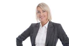 Porträt: Schöne Mitte gealterte lokalisierte Geschäftsfrau Stockbilder