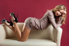 Porträt schönen jungen Blondine stockfoto