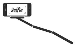 Porträt-Smartphone-APP-Vektor-Illustration Monopod Selfie Lizenzfreies Stockfoto