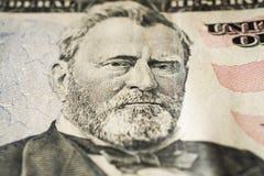 Porträt US-Präsidenten Ulysses Grant auf fünfzig extremem Makro des Dollarscheins, 50 usd lizenzfreie stockfotografie