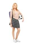 Porträt in voller Länge einer jungen Studentin mit Tasche   Lizenzfreie Stockfotografie