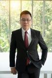 Porträt von überzeugtem in formal gekleideter reifer Geschäftsmannstellung vor einem großen modernen Bürofenster stockfoto