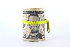 Porträt von Abraham Lincoln auf Fünfdollarschein Lizenzfreie Stockfotos