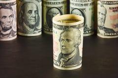 Porträt von Alexander Hameltona auf der Banknote zehn Dollar Lizenzfreies Stockbild