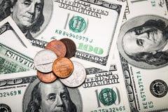 Porträt von Benjamin Franklin von hundert Dollar Banknote Lizenzfreie Stockfotos