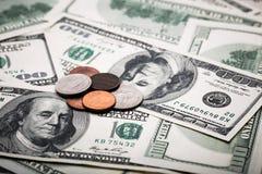 Porträt von Benjamin Franklin von hundert Dollar Banknote Stockbild