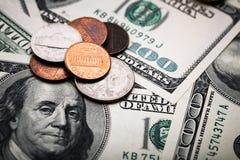 Porträt von Benjamin Franklin von hundert Dollar Banknote Lizenzfreies Stockbild