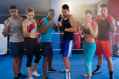 Porträt von den überzeugten jungen Boxern bereit zu kämpfen Stockfoto
