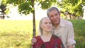 Porträt von den alten Leuten achtzig Jahre alt im Park stock video footage