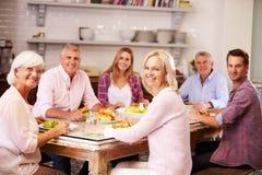 Porträt von den Freunden, die zu Hause Mahlzeit zusammen genießen lizenzfreie stockbilder
