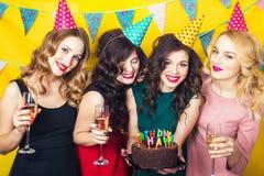 Porträt von den frohen Freunden, die Kamera auf Geburtstagsfeier rösten und betrachten Lächelnde Mädchen mit Gläsern Champagner stockfotografie