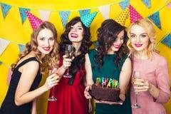 Porträt von den frohen Freunden, die Kamera auf Geburtstagsfeier rösten und betrachten Lächelnde Mädchen mit Gläsern Champagner stockbilder