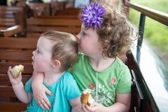 Porträt von den jungen Geschwistermädchen, die auf Zug fahren Lizenzfreies Stockfoto