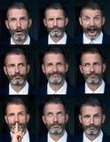 Porträt von den mehrfachen Gesichtsausdrücken des Mannes zusammengesetzt lizenzfreie stockfotos