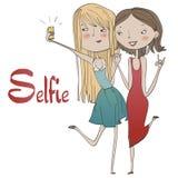 Porträt von den netten Mädchen, die selfie machen stock abbildung