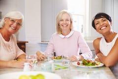 Porträt von den reifen Freundinnen, die zu Hause Mahlzeit genießen lizenzfreie stockfotografie