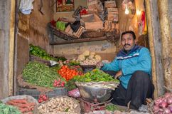 Porträt von ein Gemüseverkäufer in der berühmten Lebensmittel-Straße, Lahore, Pakistan Stockfotos