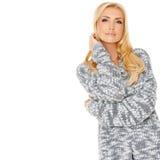 Porträt von einem sinnlichen blonden Stockbild