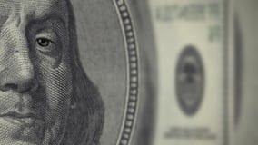Porträt von Franklin auf den Banknote Winks stock footage