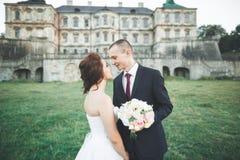 Porträt von glücklichen Hochzeitspaaren mit Kopf-an-Kopf- nahem Schloss stockbild