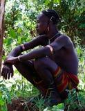 Porträt von hamer Stammmänner Omo-Tal, Äthiopien lizenzfreie stockbilder