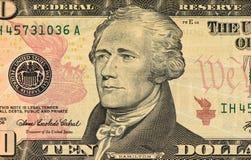 Porträt von Hamilton auf einem zehn Dollarschein, Abschluss oben Lizenzfreie Stockbilder