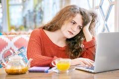 Porträt von jungen sommersprossigen weißen Studentinnen mit dem langen gelockten roten Haar, das mit einem Laptop arbeitet stockfoto