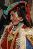 Porträt von Ladakhi-Frau im traditionellen Kostüm Lizenzfreies Stockfoto