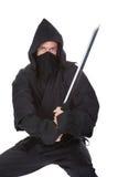 Porträt von männlichem Ninja With Weapon lizenzfreies stockbild