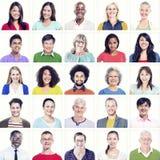 Porträt von multiethnischen bunten verschiedenen Leuten stockbild