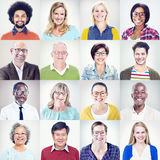 Porträt von multiethnischen verschiedenen bunten Leuten lizenzfreies stockbild