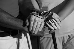 Porträt von Paaren auf Golfplatz lizenzfreie stockbilder