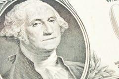 Porträt von Präsidenten George Washington auf einem 1 Dollarschein abschluß lizenzfreie stockfotos