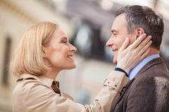 Porträt von rührenden Gesichtern und von Lachen der verliebten Paare Stockbilder