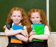 Porträt von reizenden Zwillingsmädchen Betrachten der Kamera Stockbilder