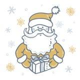Porträt von Santa Claus mit Geschenk der Hintergrund von Schneeflocken in den gold- silbernen Tönen vektor abbildung