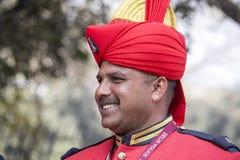Porträt von Soldaten nehmen an den Wiederholungstätigkeiten für die bevorstehende Indien-Tag der Republik-Parade teil Neu-Delhi,  Lizenzfreie Stockfotografie