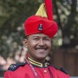 Porträt von Soldaten nehmen an den Wiederholungstätigkeiten für die bevorstehende Indien-Tag der Republik-Parade teil Neu-Delhi,  Lizenzfreies Stockbild