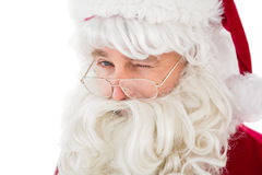 Porträt von Weihnachtsmann-Blinzeln Lizenzfreies Stockfoto