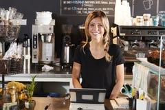 Porträt weiblicher Kaffeestube Barista Behind Counter In lizenzfreie stockbilder