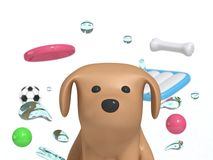 Porträtbraunhund mit Wassertropfenhundespielzeugfrisbee-Knochenball 3d übertragen lizenzfreie abbildung
