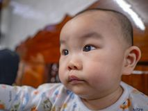 Porträtfoto von Cutie und von hübschem asiatischem Jungenbaby stockbild