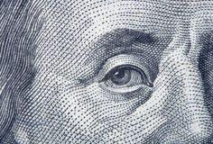 Porträtfragment von Benjamin Franklin Stockfotografie