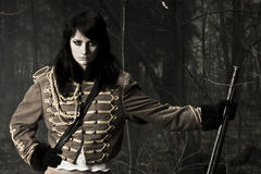 Porträtfrau des Soldaten Stockbild