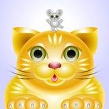 Porträtfreunde - eine Katze und eine Maus Stockfoto